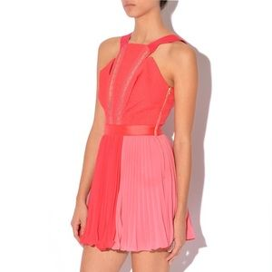 Three Floor Paradise Pink Pleated Colorblock Dress